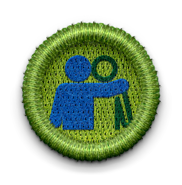 Hugging figures badge with link leading to Friends Forever page