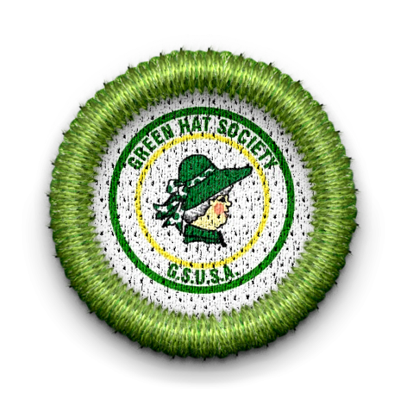 Green hat society badge with link to Green Hat Society page