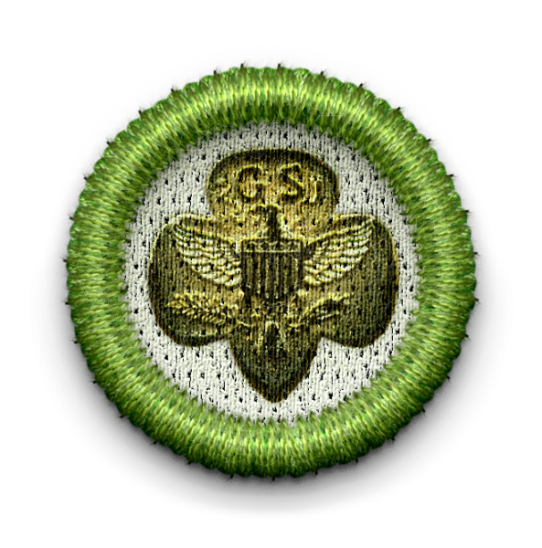 Girl Scout crest badge with link leading to Heritage group page